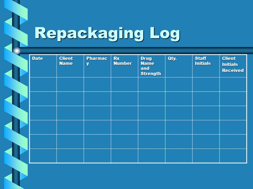 Repackaging Log Date Client Name Pharmacy Rx Number