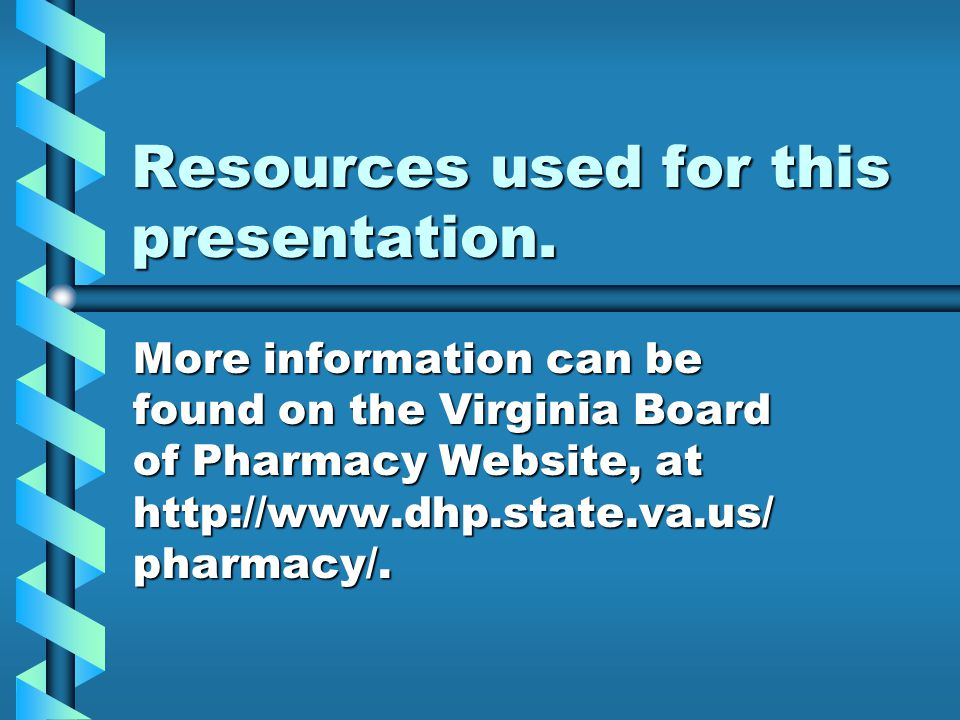Resources used for this presentation.