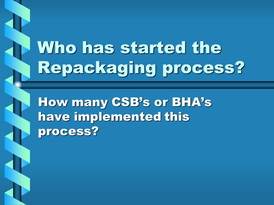Who has started the Repackaging process