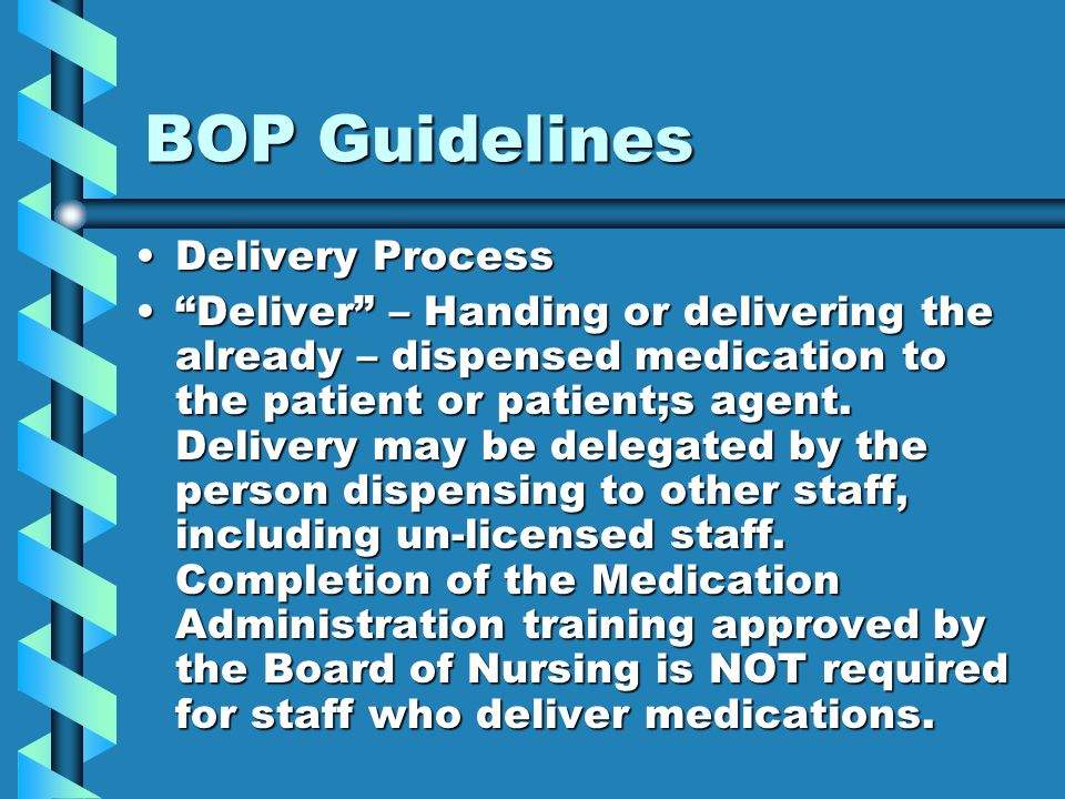 BOP Guidelines Delivery Process