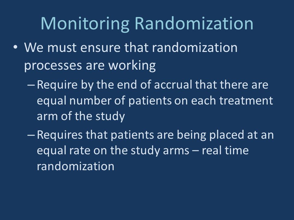Monitoring Randomization