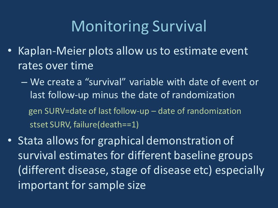 Monitoring Survival Kaplan-Meier plots allow us to estimate event rates over time.