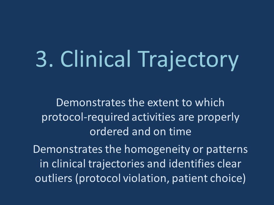3. Clinical Trajectory Demonstrates the extent to which protocol-required activities are properly ordered and on time.