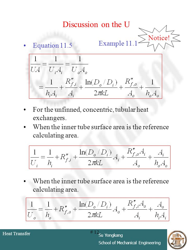 Discussion on the U Notice! Example 11.1 Equation 11.5