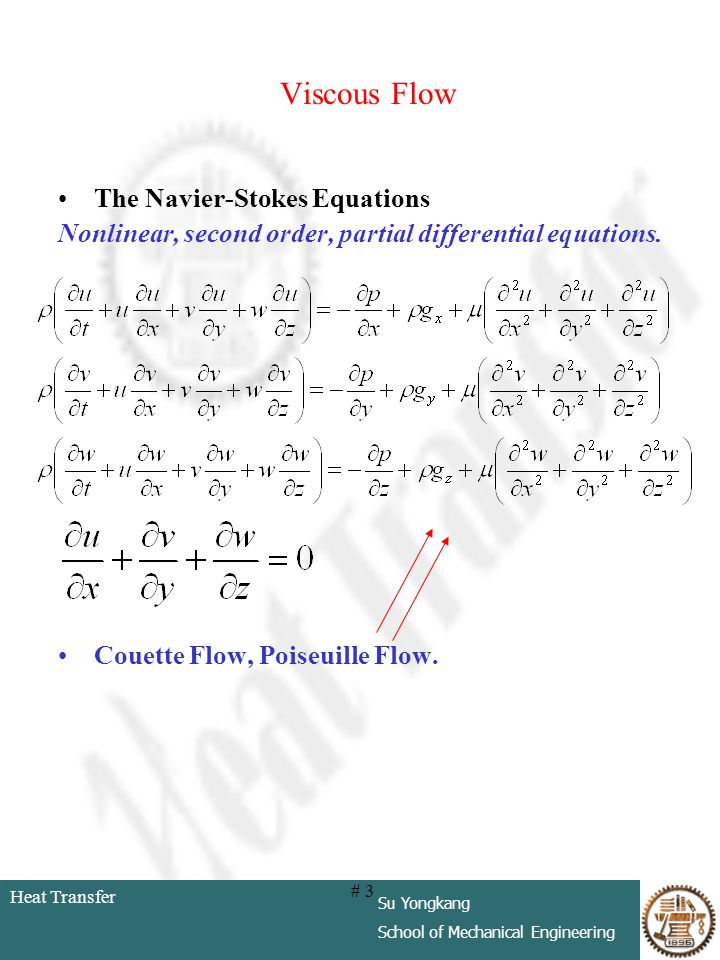 Viscous Flow The Navier-Stokes Equations