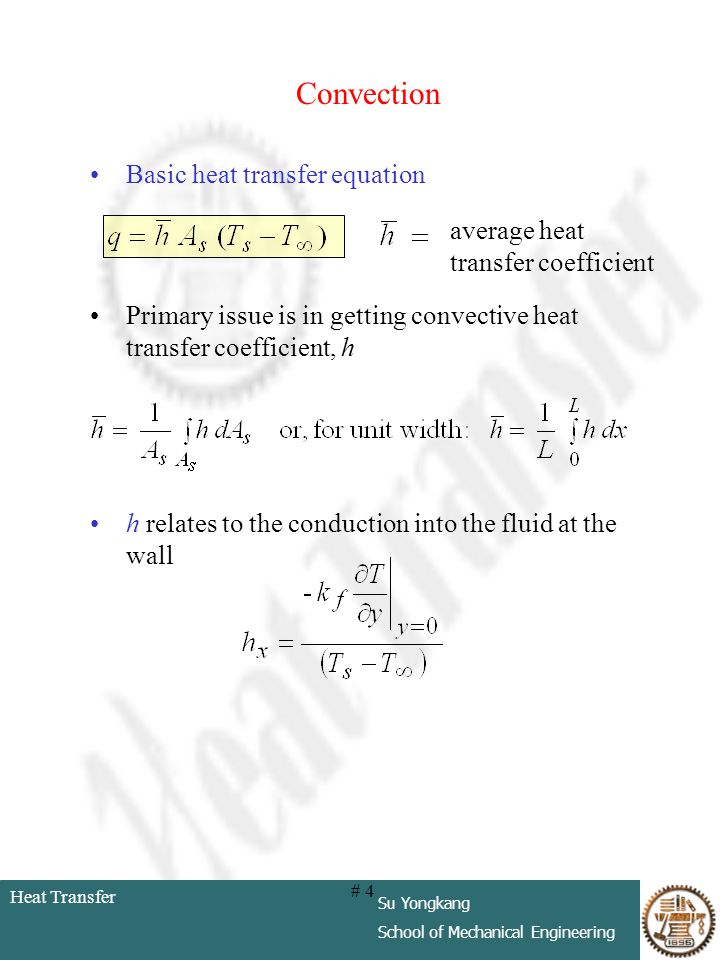 Convection Basic heat transfer equation