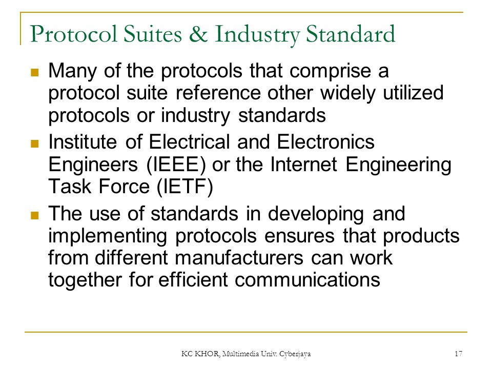 Protocol Suites & Industry Standard