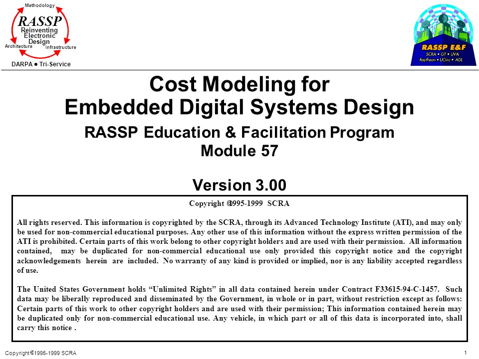 Cost Modeling for Embedded Digital Systems Design RASSP Education & Facilitation Program Module 57 Version 3.00