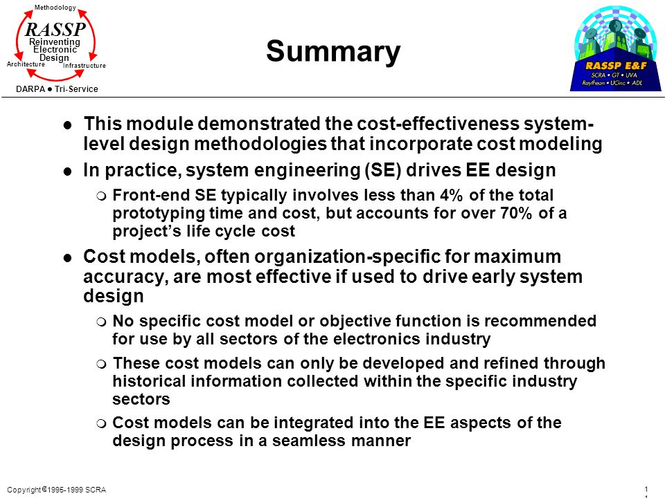 Summary This module demonstrated the cost-effectiveness system-level design methodologies that incorporate cost modeling.