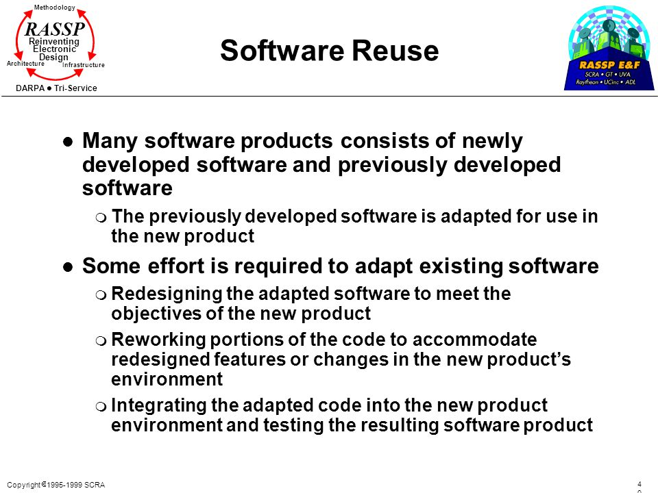 Software Reuse Many software products consists of newly developed software and previously developed software.