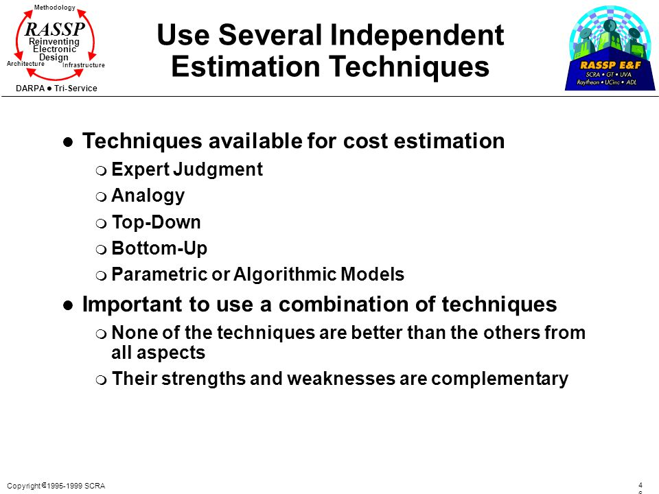 Use Several Independent Estimation Techniques