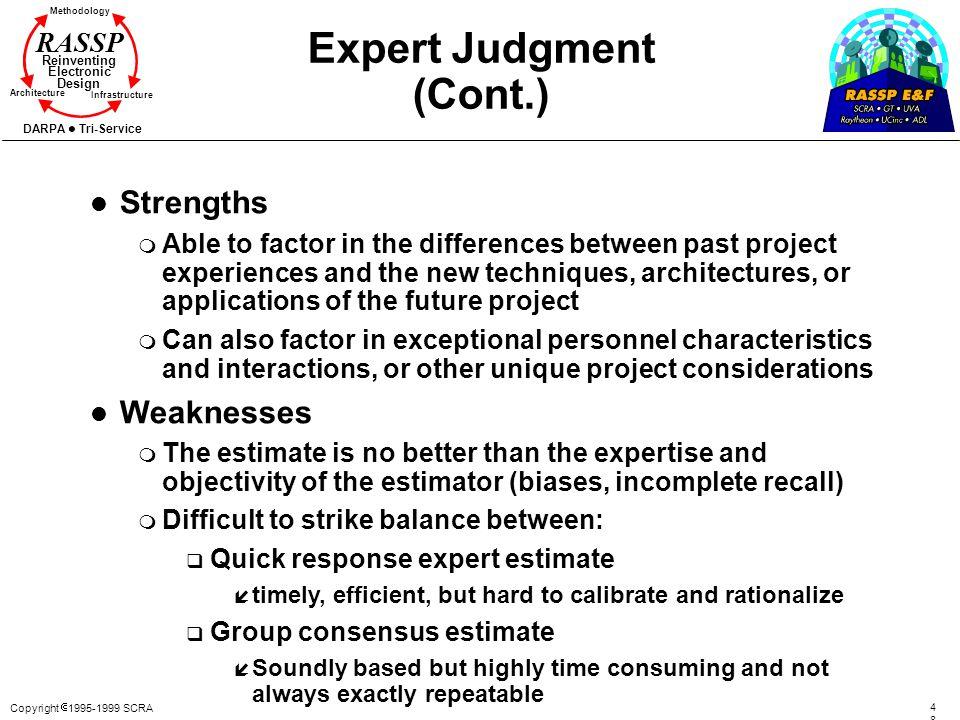 Expert Judgment (Cont.)