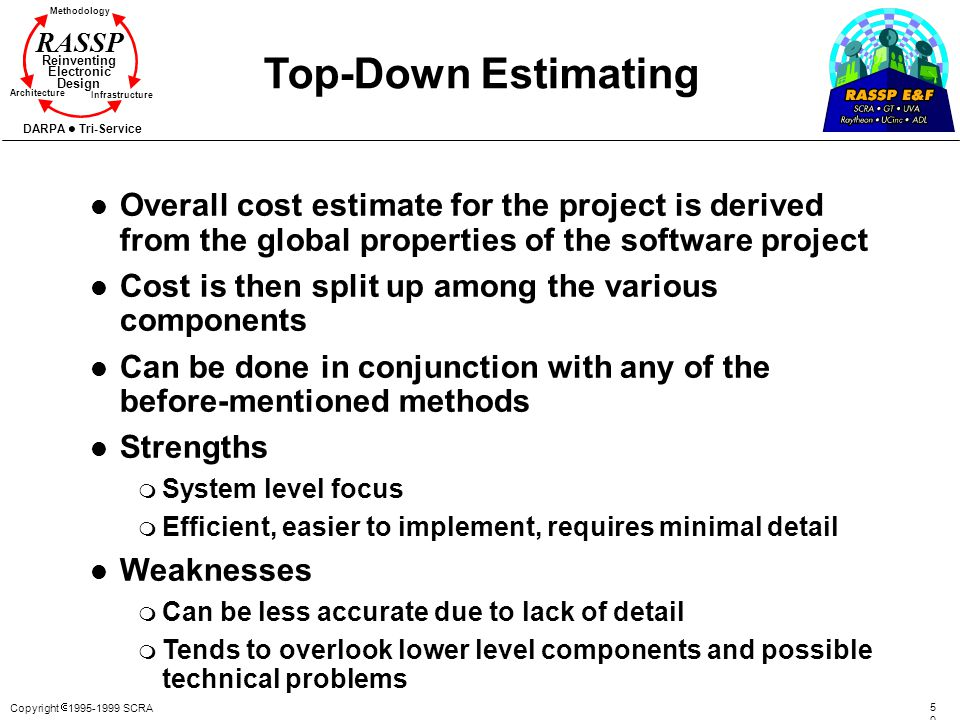 Top-Down Estimating Overall cost estimate for the project is derived from the global properties of the software project.