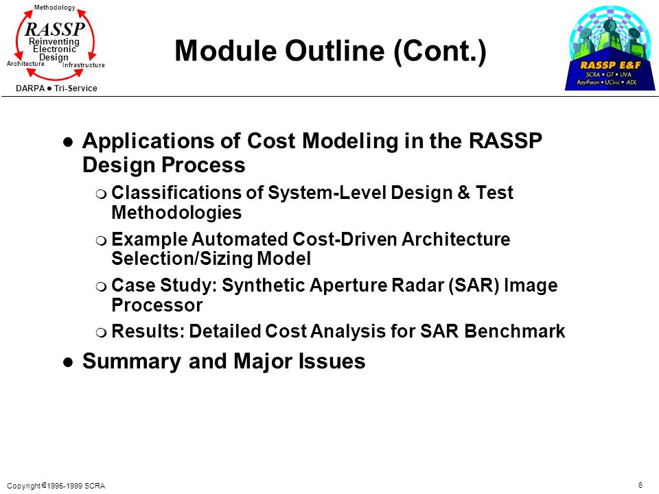Module Outline (Cont.) Applications of Cost Modeling in the RASSP Design Process. Classifications of System-Level Design & Test Methodologies.