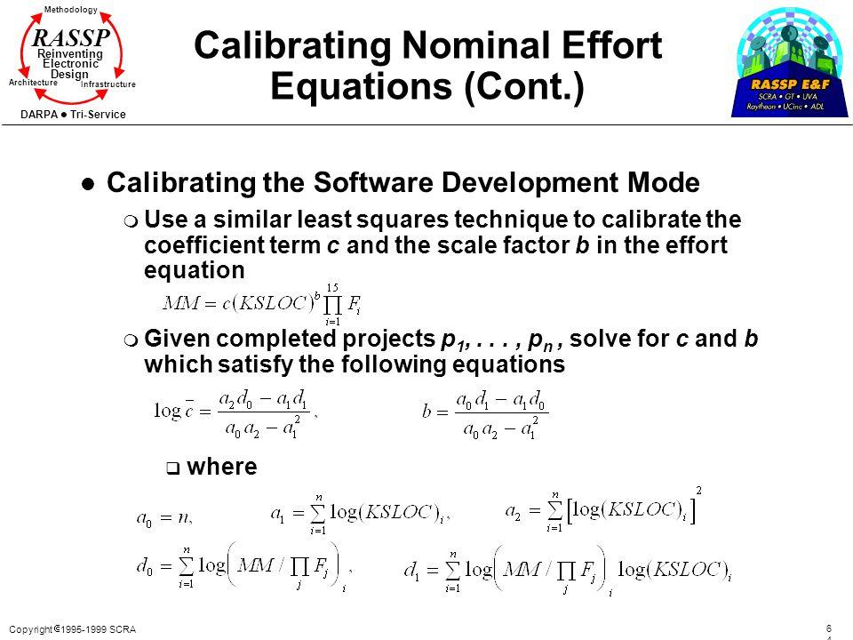 Calibrating Nominal Effort Equations (Cont.)