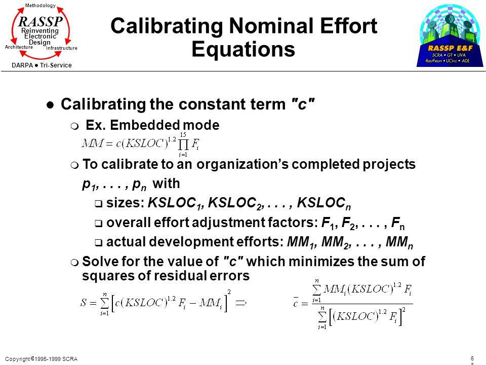 Calibrating Nominal Effort Equations