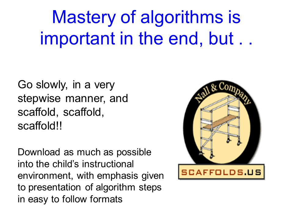 Mastery of algorithms is important in the end, but . .