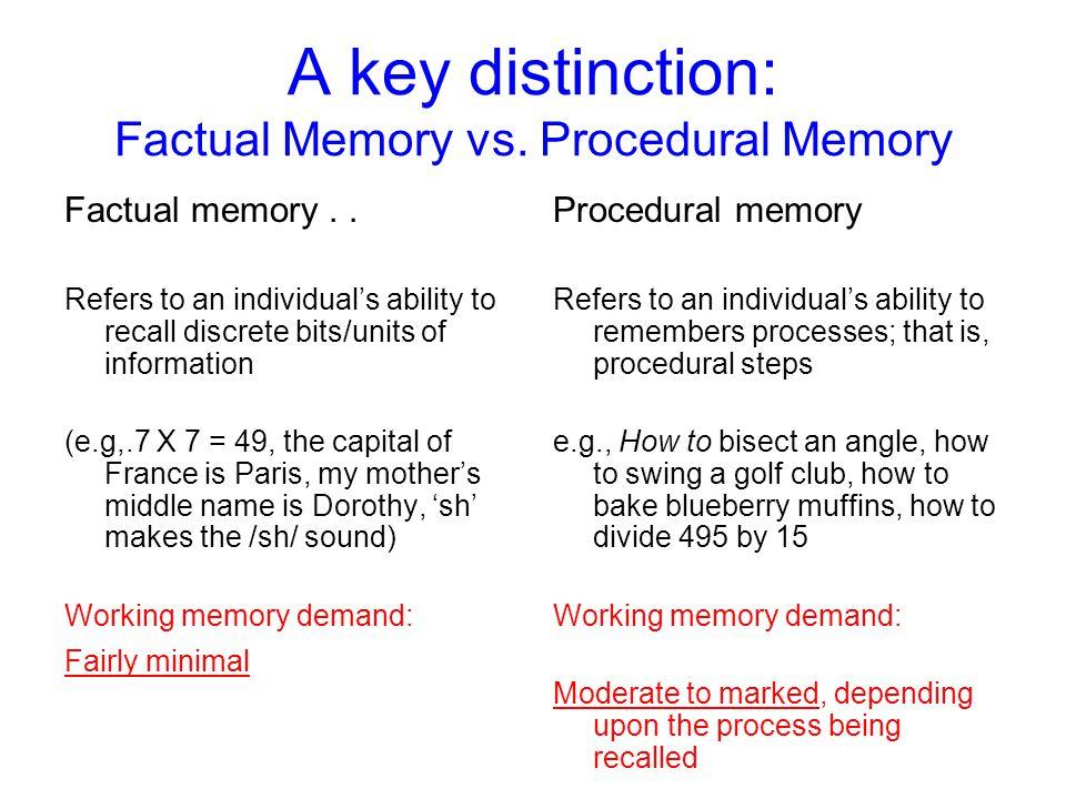 A key distinction: Factual Memory vs. Procedural Memory