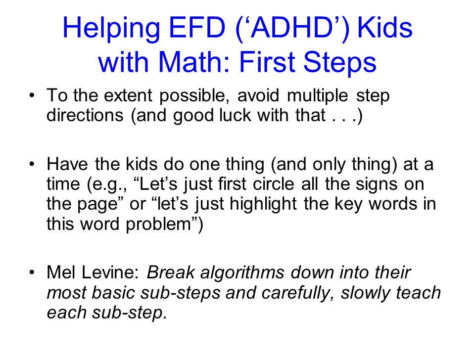 Helping EFD ('ADHD') Kids with Math: First Steps