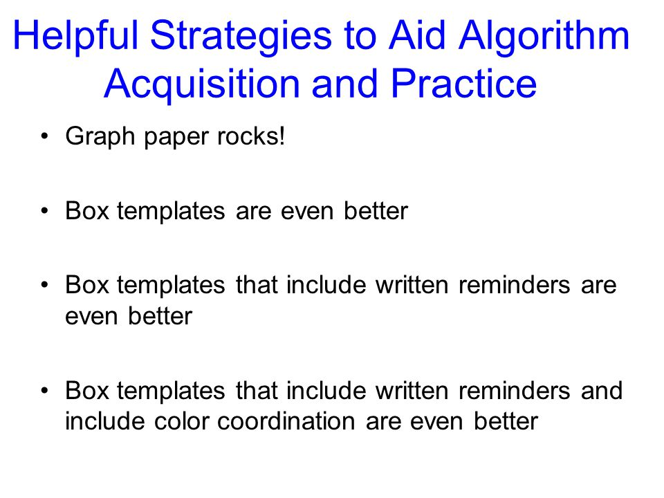 Helpful Strategies to Aid Algorithm Acquisition and Practice