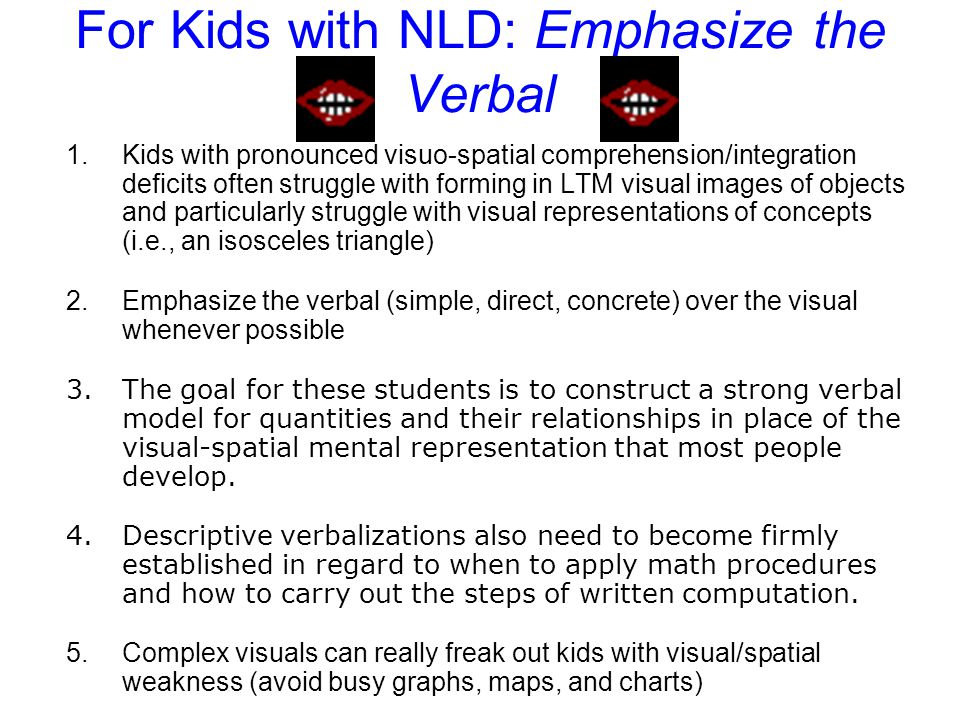 For Kids with NLD: Emphasize the Verbal