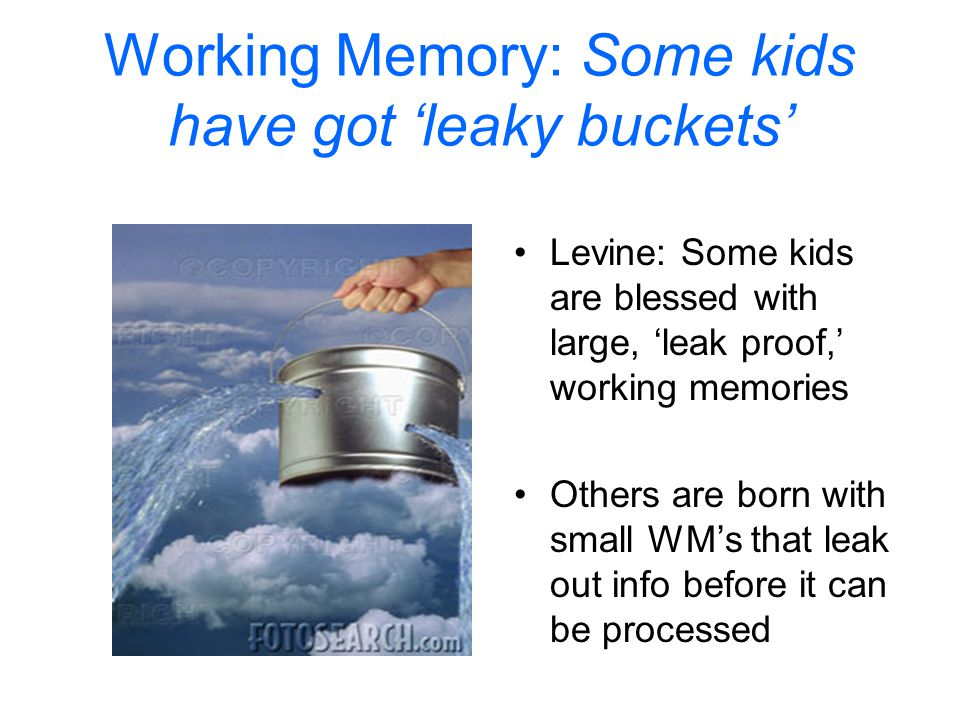 Working Memory: Some kids have got 'leaky buckets'