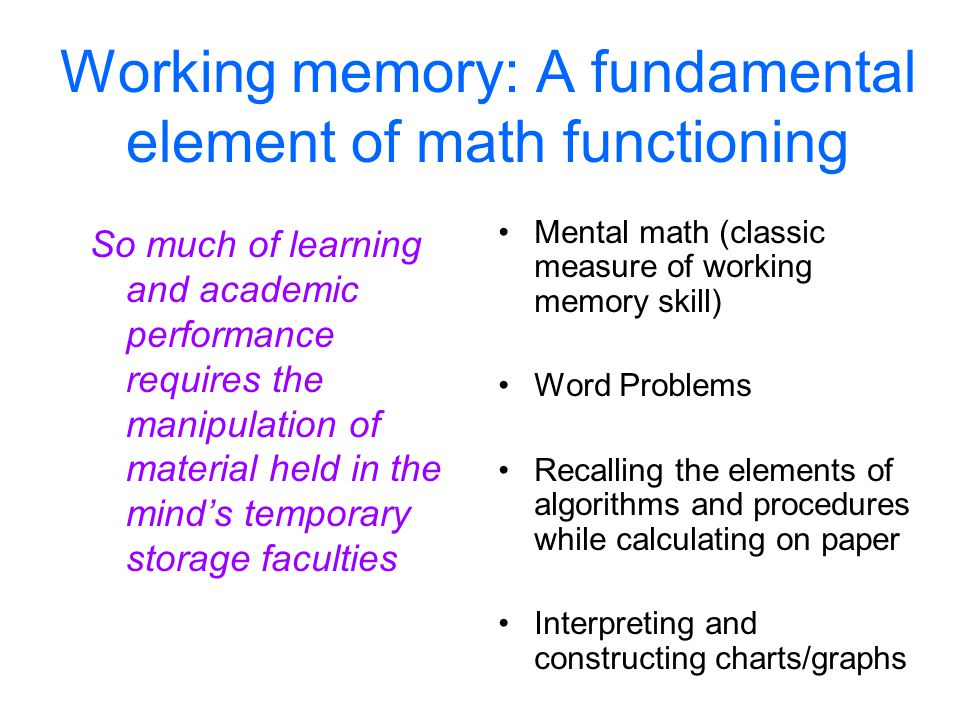 Working memory: A fundamental element of math functioning