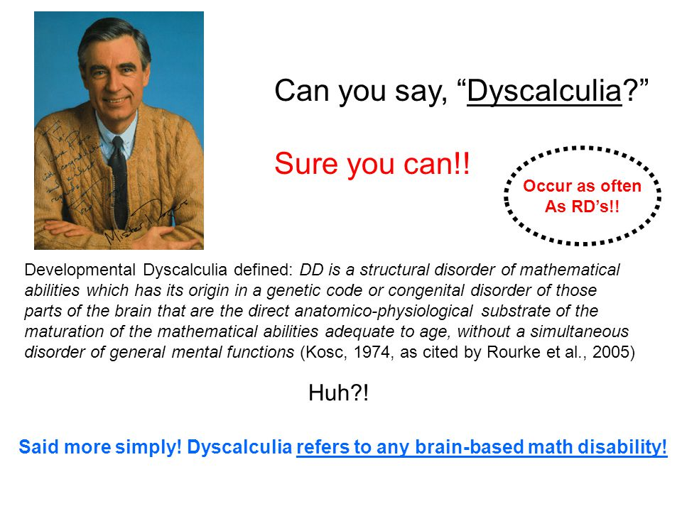 Can you say, Dyscalculia Sure you can!!