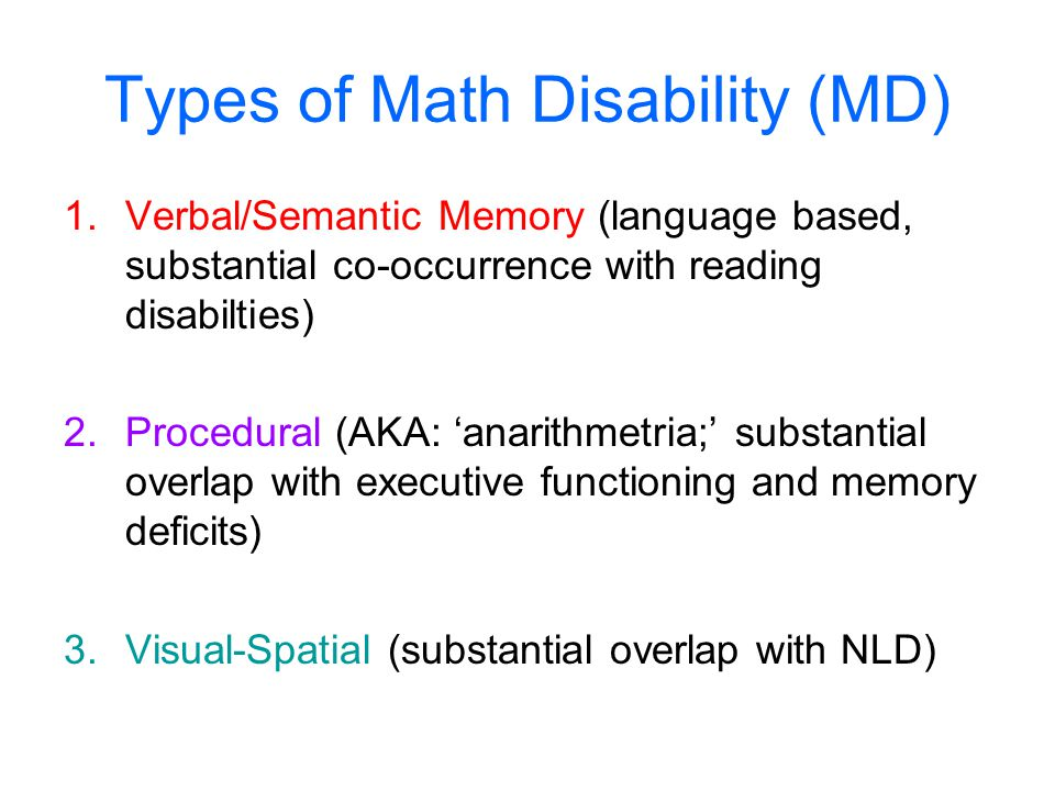 Types of Math Disability (MD)