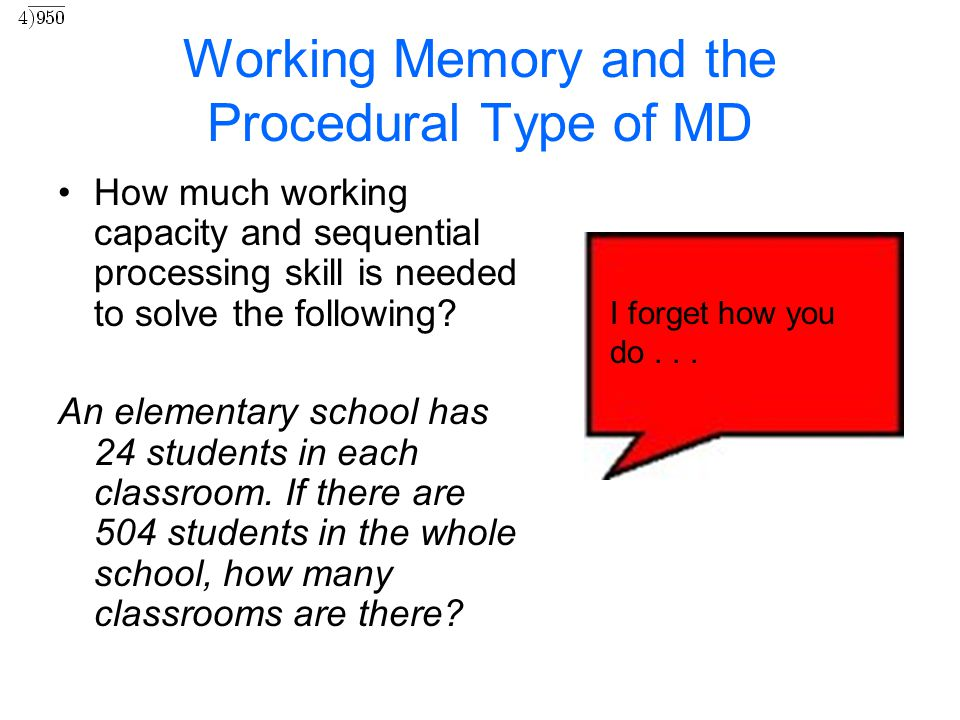 Working Memory and the Procedural Type of MD