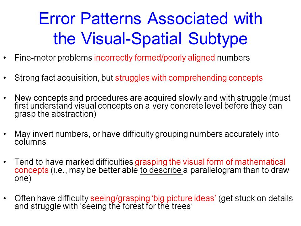 Error Patterns Associated with the Visual-Spatial Subtype