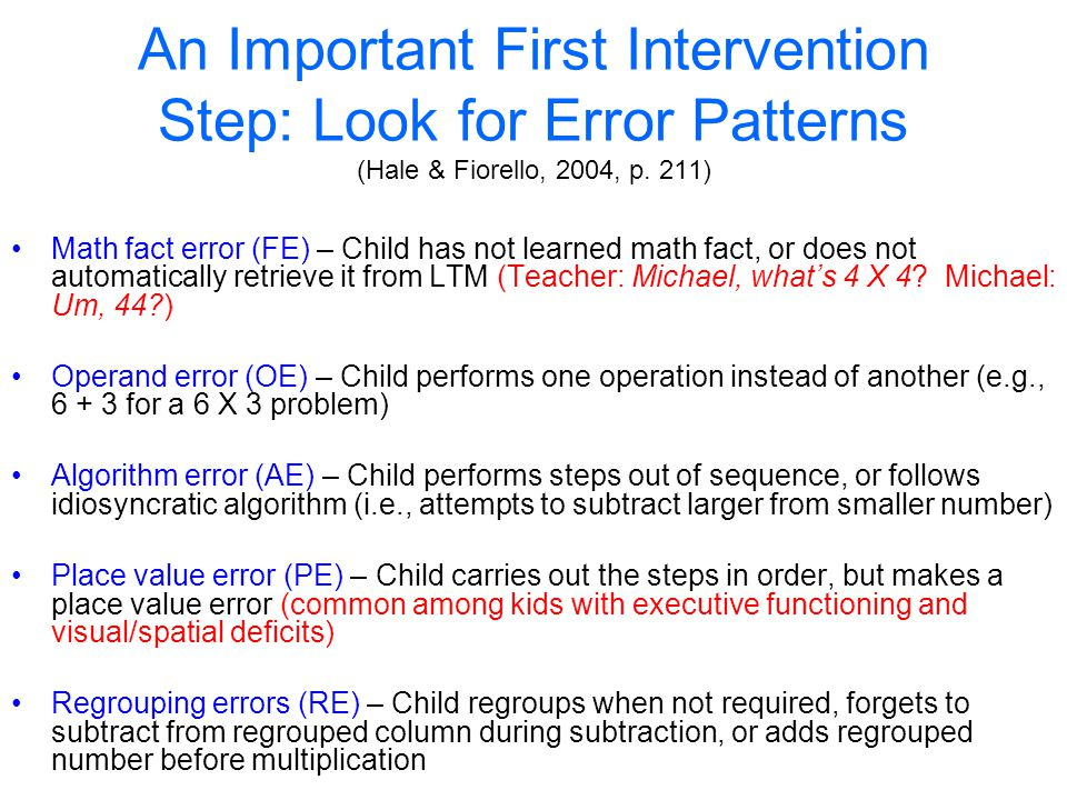 An Important First Intervention Step: Look for Error Patterns (Hale & Fiorello, 2004, p. 211)