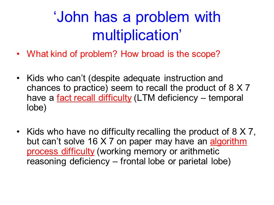 'John has a problem with multiplication'