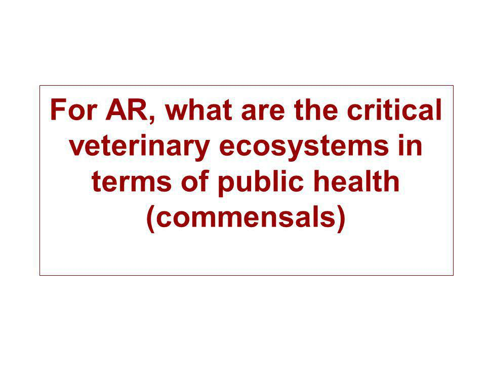 For AR, what are the critical veterinary ecosystems in terms of public health (commensals)