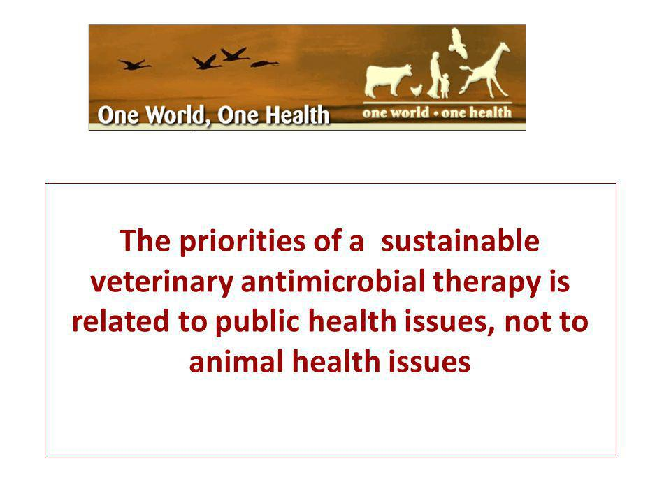 The priorities of a sustainable veterinary antimicrobial therapy is related to public health issues, not to animal health issues