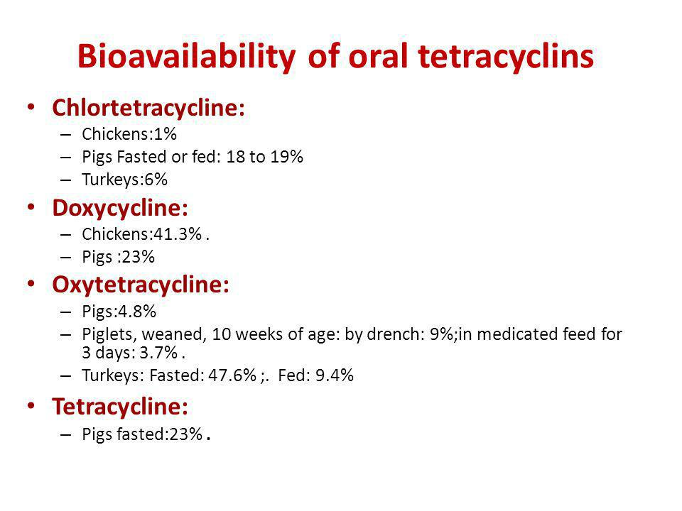 Bioavailability of oral tetracyclins