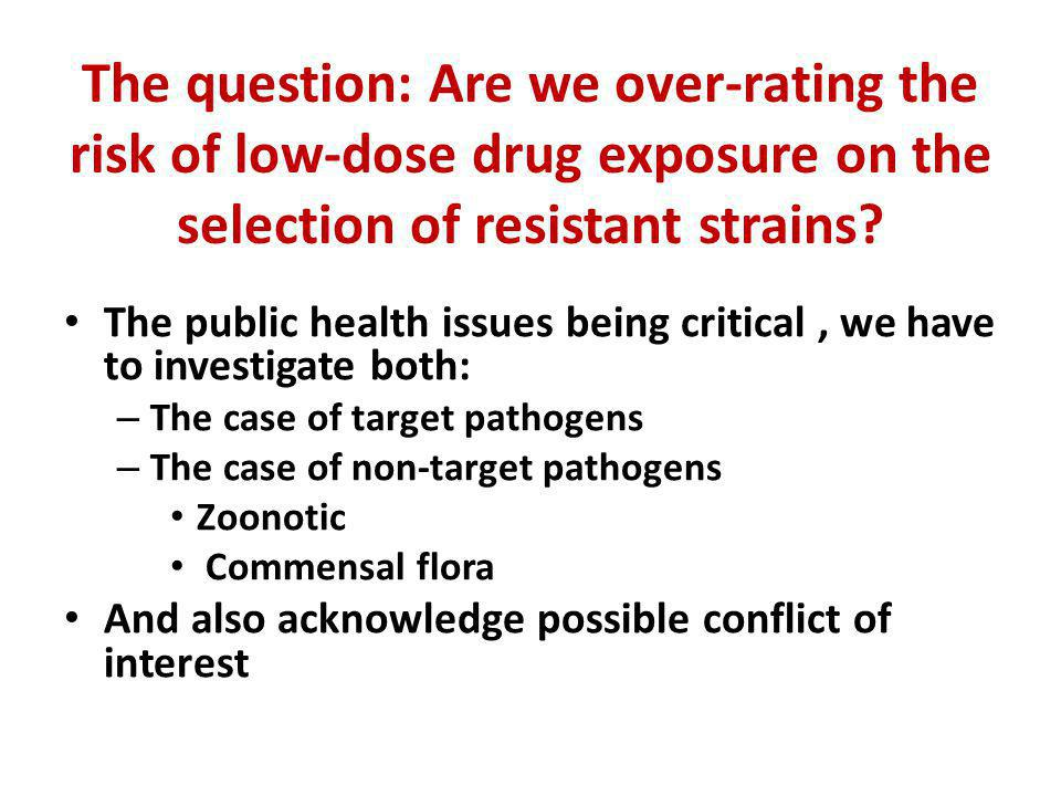 The question: Are we over-rating the risk of low-dose drug exposure on the selection of resistant strains