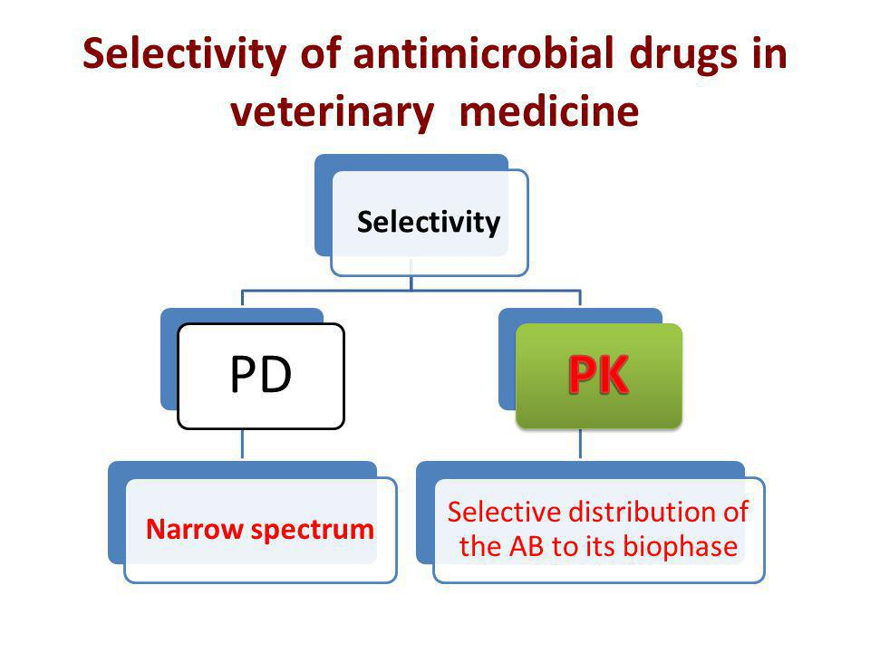 Selectivity of antimicrobial drugs in veterinary medicine