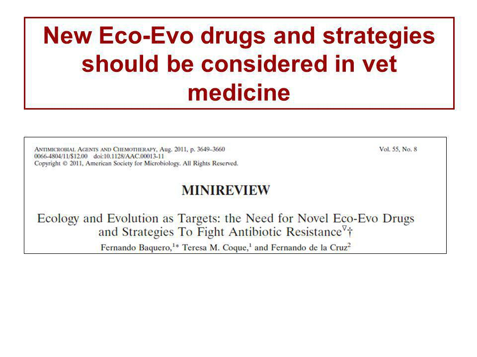 New Eco-Evo drugs and strategies should be considered in vet medicine