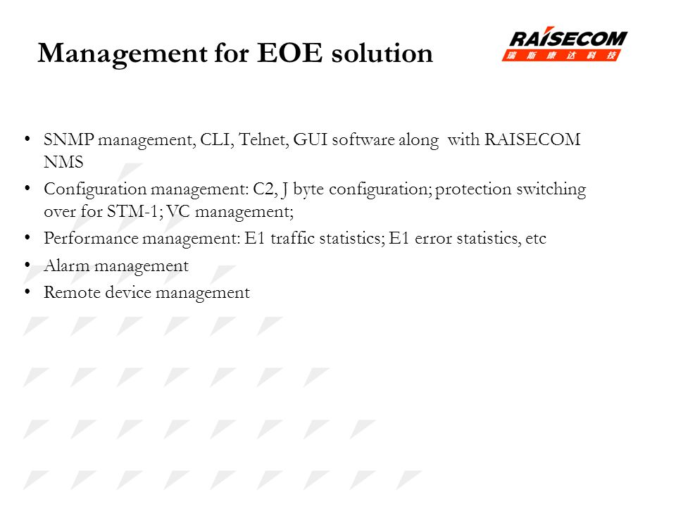 Management for EOE solution