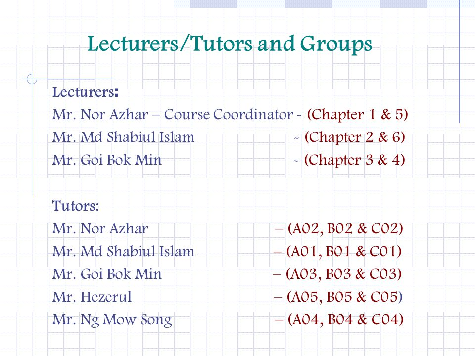 Lecturers/Tutors and Groups