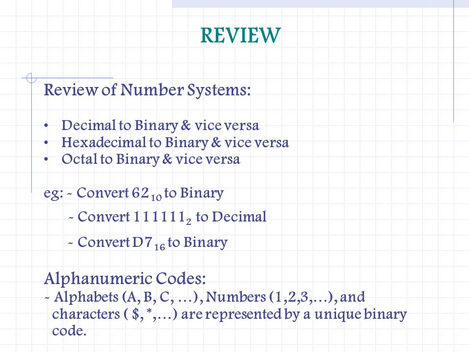 REVIEW - Convert D716 to Binary Review of Number Systems: