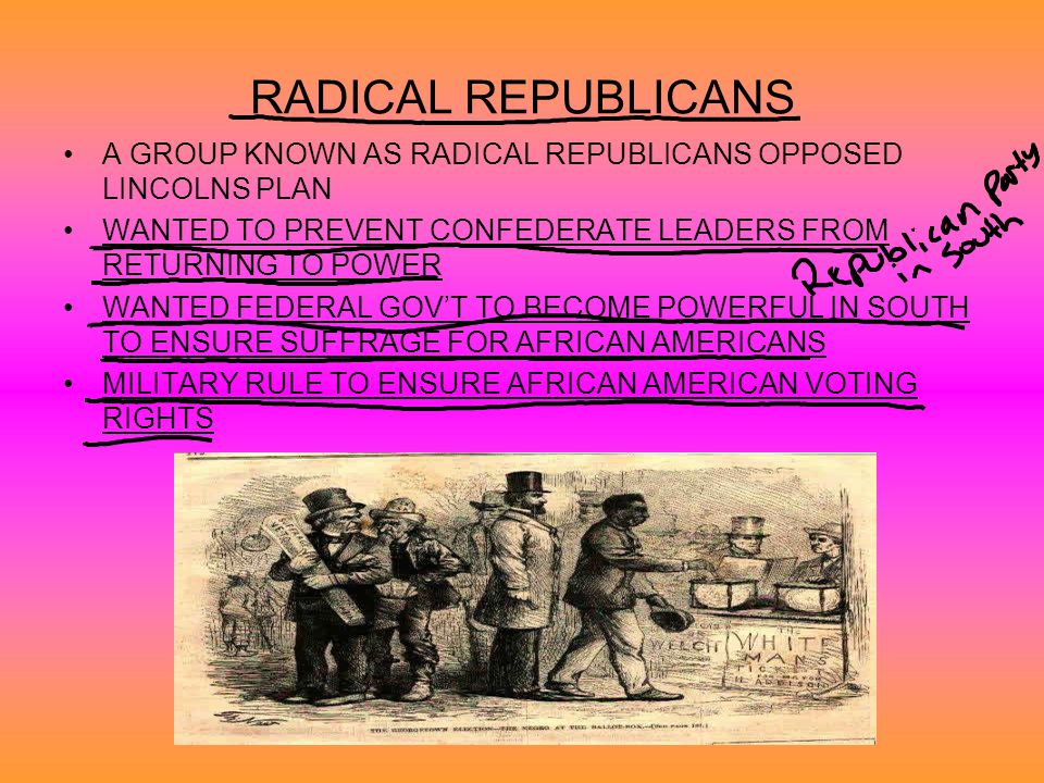 RADICAL REPUBLICANS A GROUP KNOWN AS RADICAL REPUBLICANS OPPOSED LINCOLNS PLAN. WANTED TO PREVENT CONFEDERATE LEADERS FROM RETURNING TO POWER.