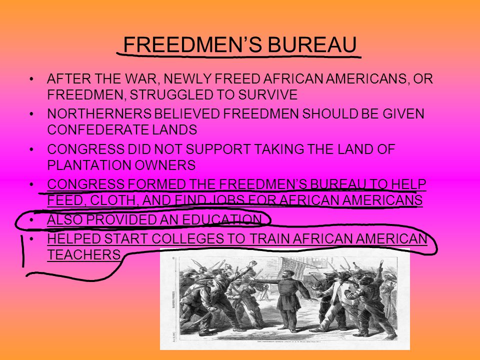 FREEDMEN'S BUREAU AFTER THE WAR, NEWLY FREED AFRICAN AMERICANS, OR FREEDMEN, STRUGGLED TO SURVIVE.