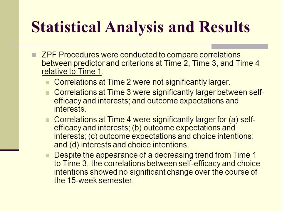 Statistical Analysis and Results