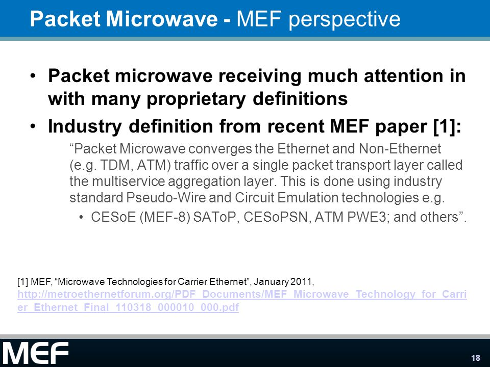 Packet Microwave - MEF perspective