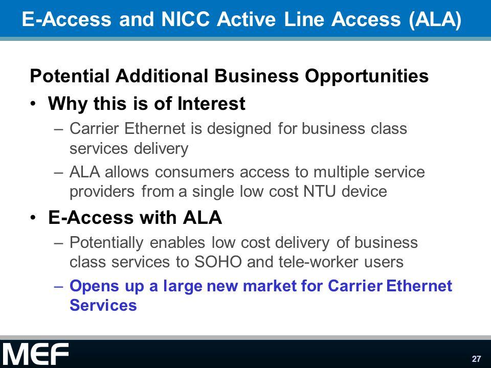 E-Access and NICC Active Line Access (ALA)