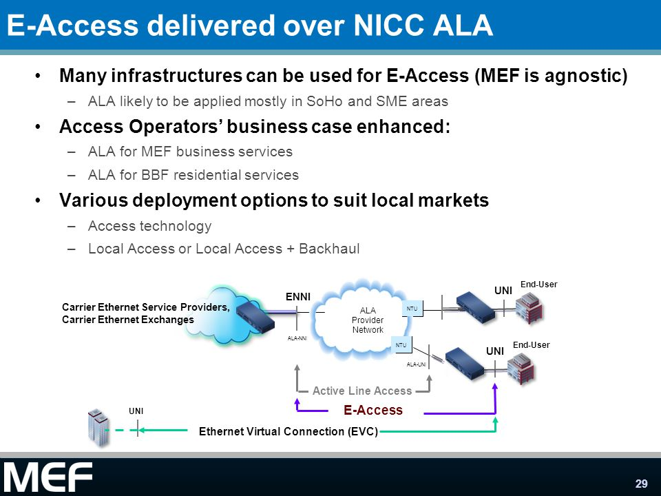 E-Access delivered over NICC ALA