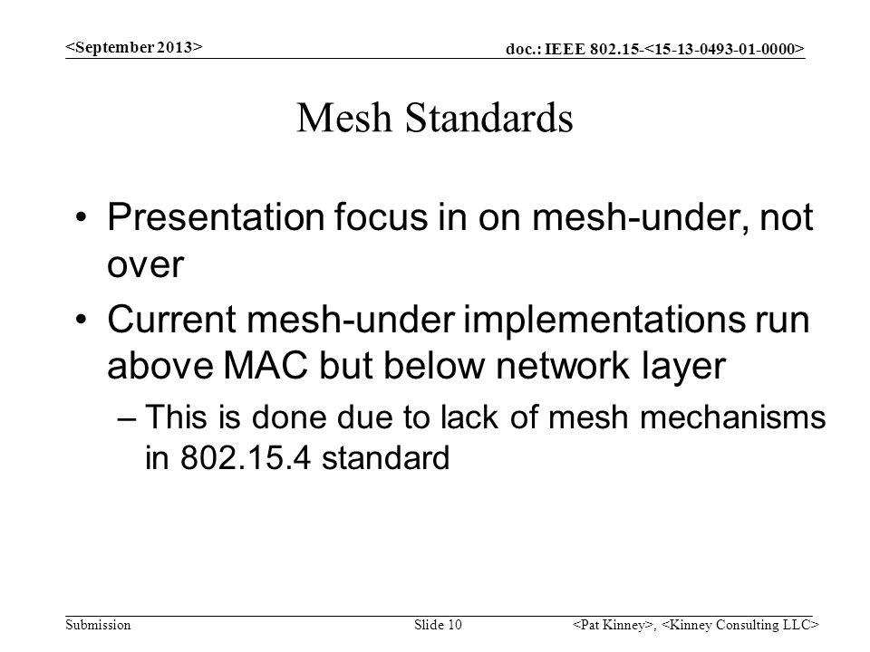 Mesh Standards Presentation focus in on mesh-under, not over