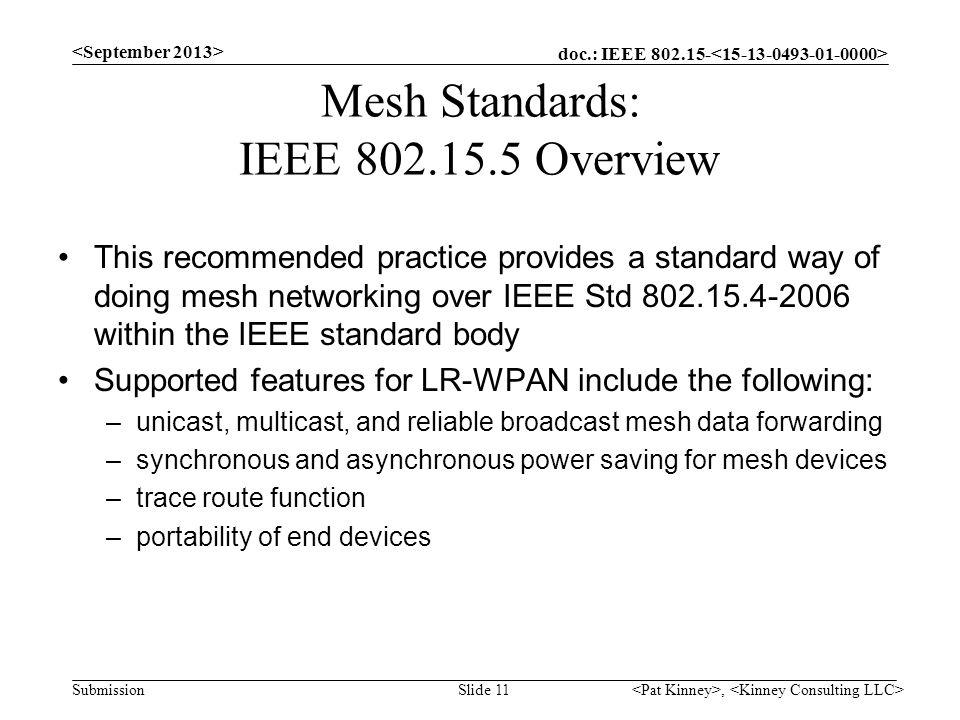 Mesh Standards: IEEE 802.15.5 Overview